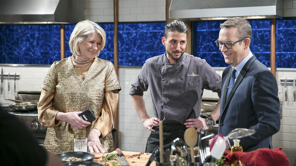 The competitors prepare high-end meals for judge Martha Stewart.